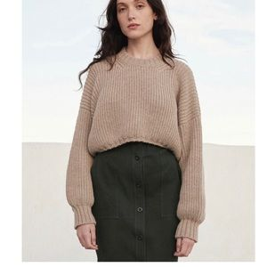FIRST RITE Crop Crew Sweater, color: Oatmeal